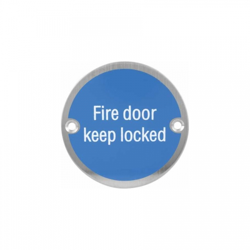 Stainless steel fire door locked Sign Plate SP019