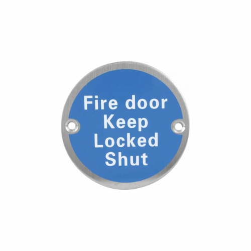 Stainless steel fire door closed Sign Plate SP020
